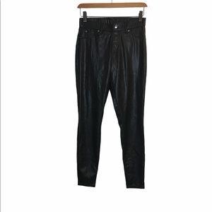 Hue Faux Leather Leggings Pants Black Mid Rise S